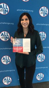 "Savanna Navarro Kresse received the ALL IN Challenge ""Honor Role"" award, which is presented to 10 students that help college students to improve nonpartisan civic learning, political engagement and voter participation"