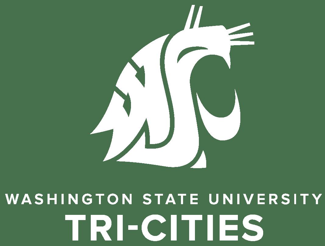 WSU Tri-Cities Vertical Logo White Web