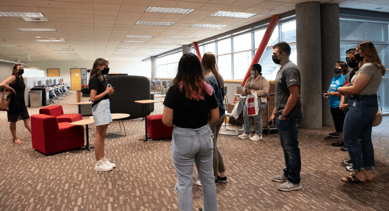 Students attend a tour of WSU Tri-Cities as part of the Welcome [Back] Open House event for students