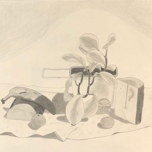 A still life of 6 biomorphic objects, including: two halves of a small log, two oranges, a banana, and a plant in a cart-shaped pot on some fabric.