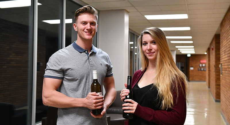 Wine business competition award winners - WSU Tri-Cities students Kyle Brunson and Danae Williams