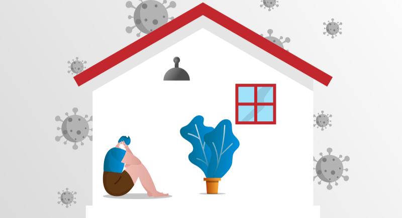 illustration of someone being sad in their home due to pandemic