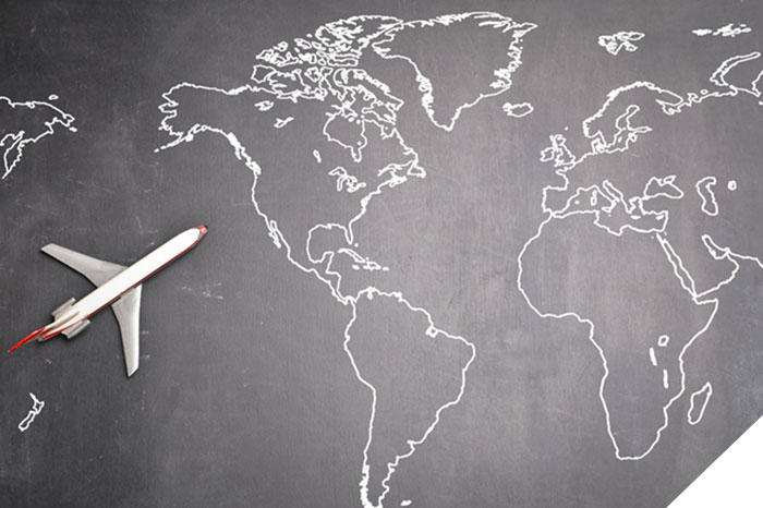 world map with toy plane