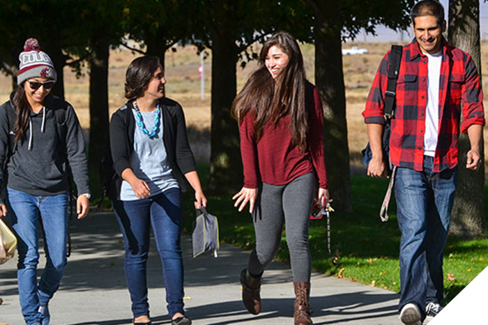 students walking to campus