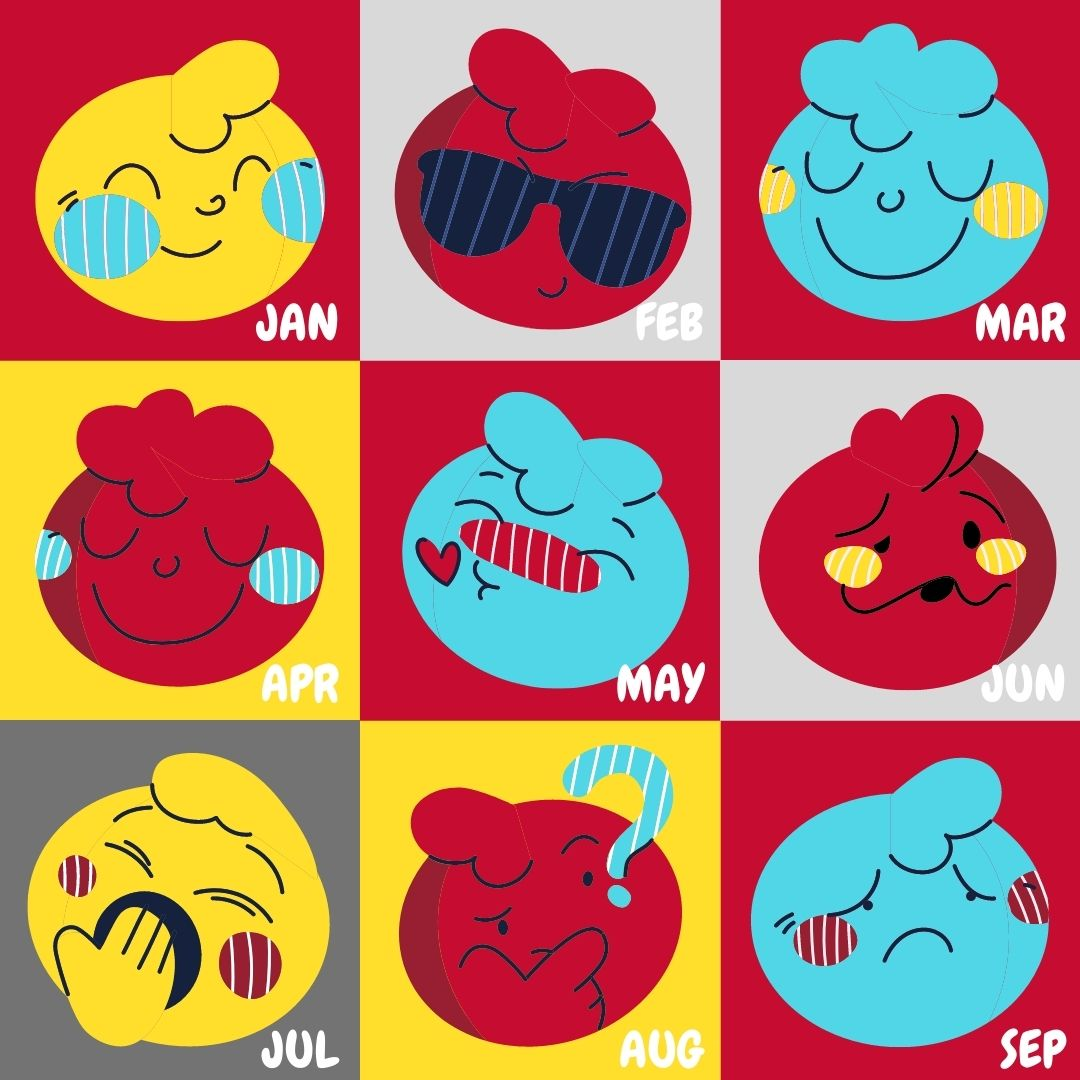 12 faces of emotional moods