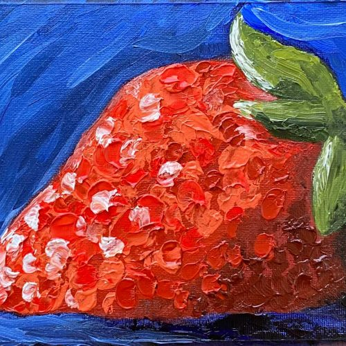 A single strawberry, painted using thick spots of reds, oranges, pinks, and white